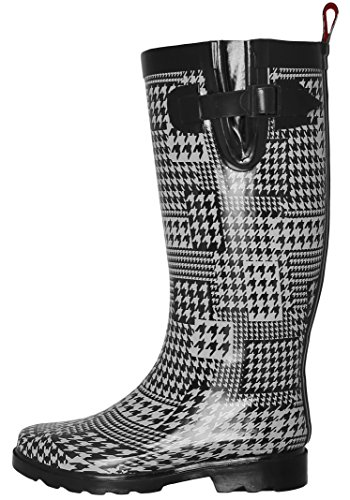 Capelli New York Ladies Shiny Houndstooth Collage Printed Tall Rainboot White Combo 10
