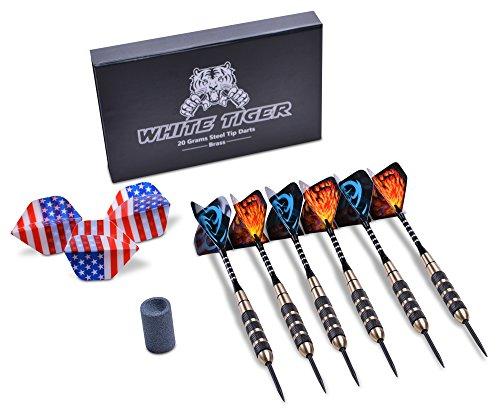 Best Deals! White Tiger Steel Tip Darts Set (6-Pack) Aluminum Shafts, Brass Barrels | Professional o...