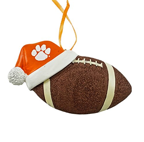 (Clemson University Santa Hat Football Hanging Christmas Ornament)