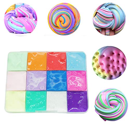 Naiflowers DIY Slime, Slime Mud Kawaii 150ml 12 Colors Mystery Squishies Cloud Butter Slime Fluffy Putty Scented Charm Slime Clay Sludge, Stress Relief Toy for Adults Kids, (Multicolor)]()