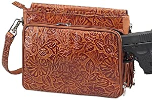 GTM GTM-22-TN Gun Tote'n Mamas Concealed Carry Tooled American Cowhide Shoulder Bag, Tan, Small