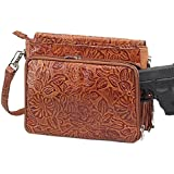 GTM Gun Tote'n Mamas Concealed Carry Tooled American Cowhide Shoulder Bag, Tan, Small