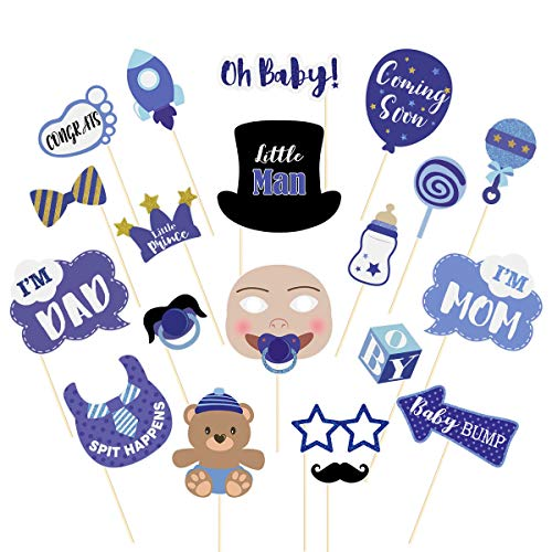 Amosfun 20PCS Boy Baby Shower Photo Booth Props Little Man Baby Shower Decorations Supplies Baby Bottle Mask Photo Booth Props ()