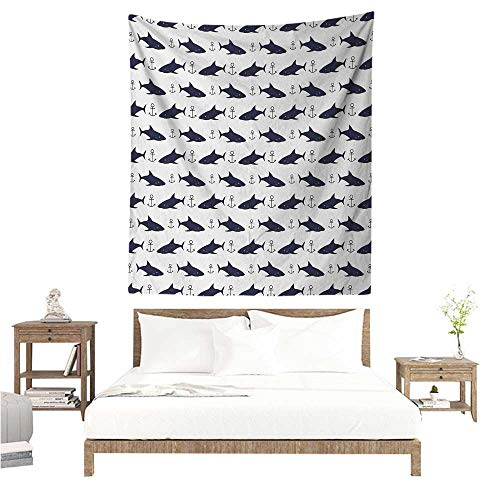 EwaskyOnline1 Anchor Tapestry Wall Hanging Aquatic Pattern with Sharks and Anchors Contemporary Classical Modern Fish Animal Tapestry for Home Decor 51W x 60L INCH Indigo White