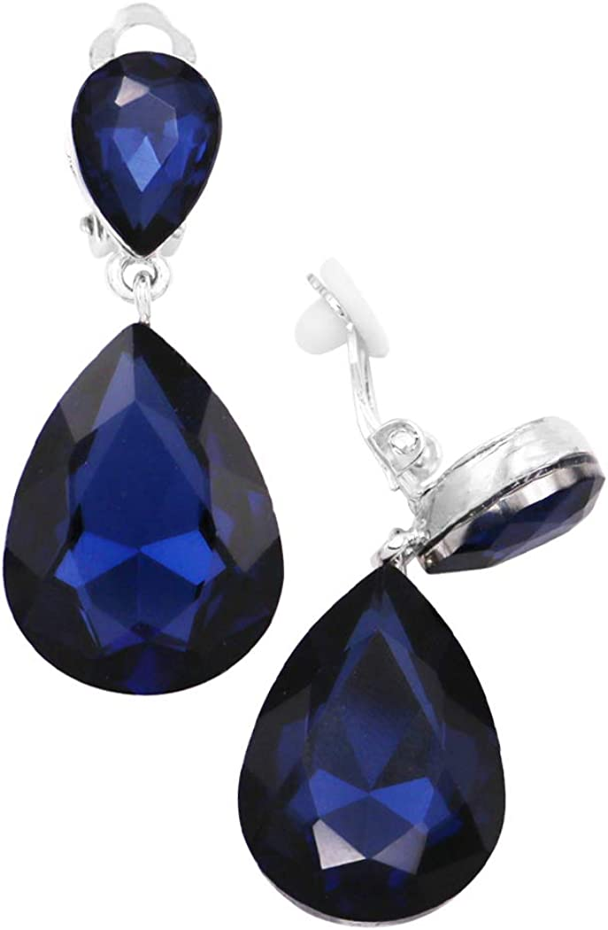 Rosemarie Collections Womens Double Teardrop Crystal Statement Clip On Earrings