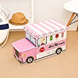Folding Storage Ottoman for Kids Icecream Car Pink Sit-and-storage Ottoman 21.6''x12.5''x9.8''