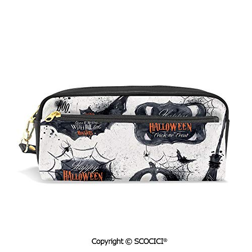 Fasion Pencil Case Big Capacity Pencil Bag Makeup Pen Pouch Halloween Symbols Happy Holiday Witch Lives Here Broomstick Spider Web Decorative Durable Students Stationery Pen Holder for School -