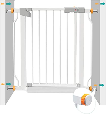 Barrera de seguridad Barrera Para Perros De Seguridad Para Bebés Barrera Para Perros Domésticos Escalera Para El Hogar Seguro Y Seguro Guardia, 90 ° De Parada, Apertura Y Cierre Automático, Blanco, 78:
