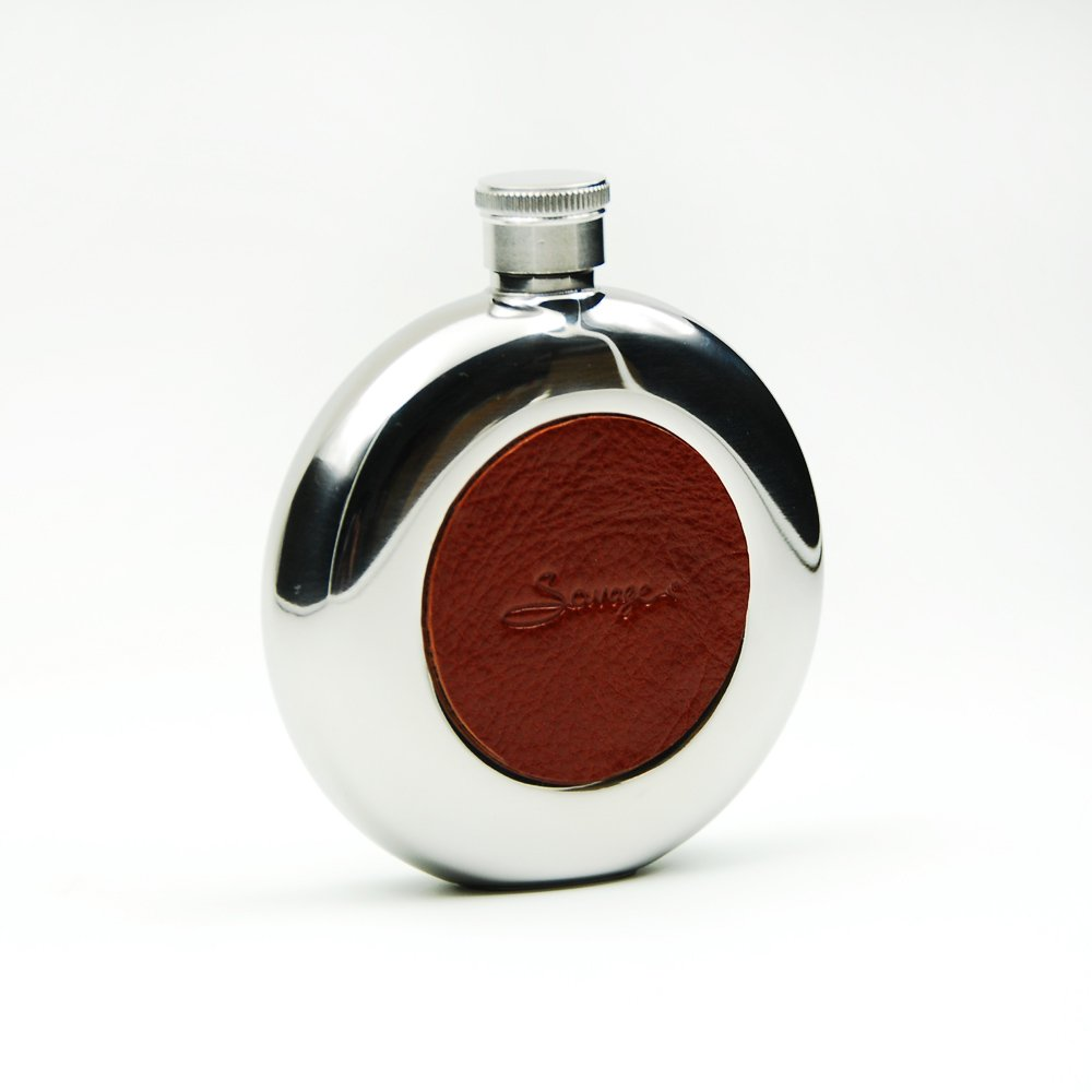 Savage 5oz Round Hip Flask Covered with Burgundy Genuine Leather 18/8 Stainless Steel Mirror Finished