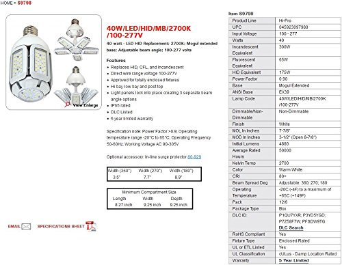 Satco S9798 40 Watt LED HID Replacement 2700 Kelvin Mogul Base Adjustable Beam Angle 100-277V Light Bulb