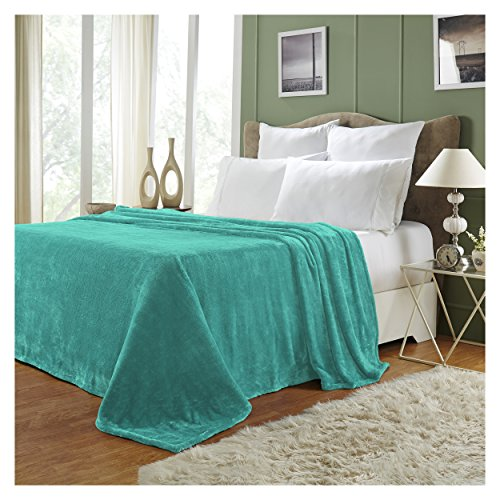 Superior Quality All-Season, Plush, Silky Soft, Fleece Blankets and Throws, Turquoise, Full/Queen