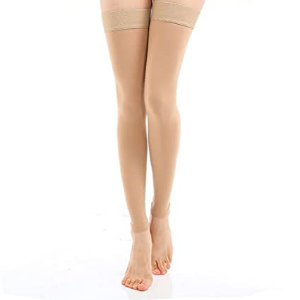 49b83228e03 DCCDU Medical Thigh High Footless Compression Stockings with Silicone Band  Firm Support 20-30 mmHg