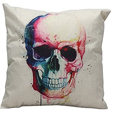 Seasofbeauty Halloween Skull Pillow Case for Sofa Home Decorative Cushion Cover (style 10)