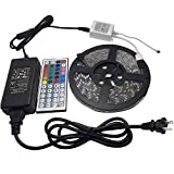 FSJEE 5050 RGB LED Strip Light Kit, LED Tape Light,Ribbon LED Light, 300LED per 5m Roll,Waterproof IP65 with 44 IR Remote Controller and Power Supply for Home,Store,Party,Stage and Boat etc.