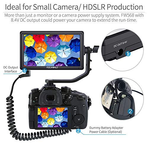 FEELWORLD FW568 5.5 inch DSLR Camera Field Monitor Video Peaking Focus Assist Small Full HD 1920x1080 IPS with 4K HDMI 8.4V DC Input Output Include Tilt Arm by FEELWORLD (Image #4)