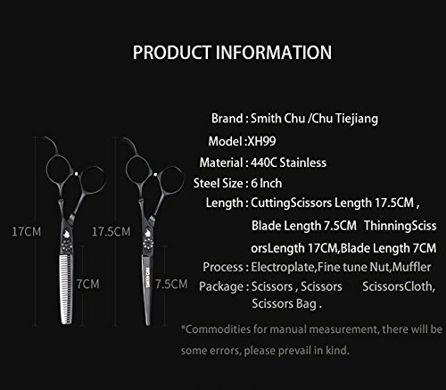 SMITH CHU 6 inches Professional Black Barber Hair Cutting Scissors and Salon Thinning Shears - 440C Stainless Steel for Hairdresser