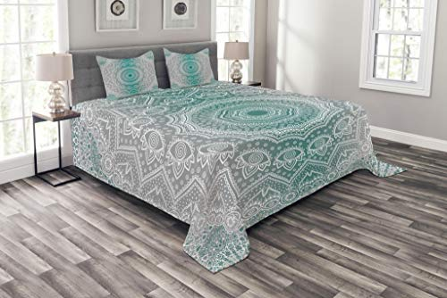 Ambesonne Grey and Teal Bespread Set Queen Size, Mandala Ombre Sacred Geometry Occult Pattern with Flower Lines Display Artwork, Decorative Quilted 3 Piece Coverlet Set with 2 Pillow Shams, Teal Grey