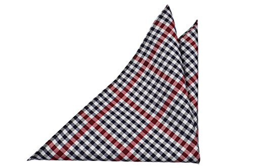 Notch Men's Pocket Square JENS - Checked pattern in dark blue, white and - Square Checked Pocket Pattern
