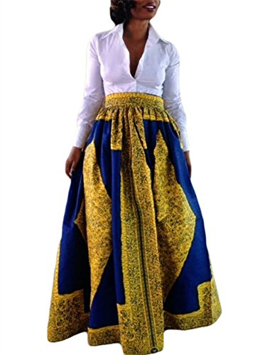 Blue Floral Print Skirt (JomeDesign Women's African Floral Print Casual Pleated Dress A Line Maxi Skirt, Yellow Blue, L)