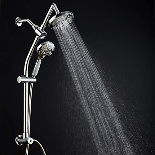 Spa Station 34'' Adjustable Drill-Free Slide Bar with 48-setting Showerhead Combo & Height Extension Arm / 3-way Rain & Handheld Shower Head/Low Reach Diverter/Stainless Steel Hose/Chrome by Hotel Spa (Image #7)