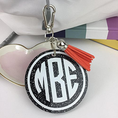 - Monogram Bag Tag on Glitter Acrylic, Personalized, Monogrammed with Your Name and Your Colors