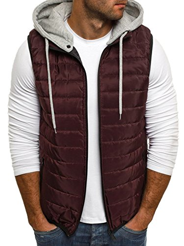 Makkrom Mens Puffer Vest Jacket Quilted Removable Hooded Sleeveless Zip Up Warm Winter Outwear Jacket Gilet Burgundy ()