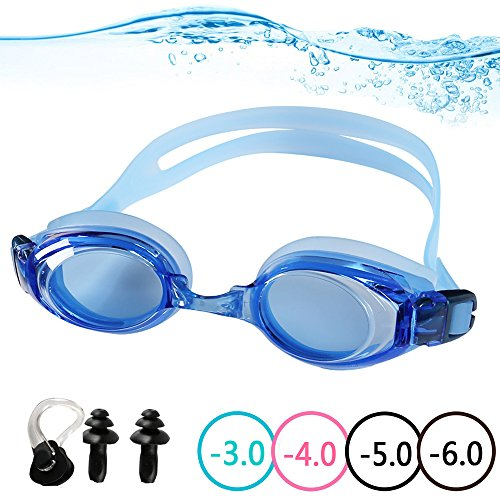 YINGNEW Optical Swimming Goggles Prescription Mirror Lens for Kids Youth Adults ,Soft and Comfortable Swim Goggles with Protective Case Nose Clip Ear Plugs and Interchangeable Nose Bridge - - Youth Glasses Prescription
