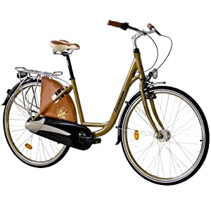 """28"""" KCP CITY BIKE ALLOY BICYCLE CASSIOPEA LADY 3 speed NEXUS Coaster Retro Look gold - (28 inch)"""