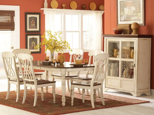 - Homelegance Ohana 7 Piece Dining Table Set in White/Warm Cherry