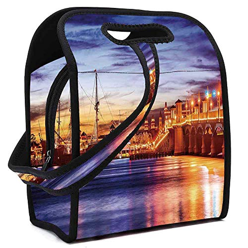 United States Lightweight Neoprene Lunch Bag,St. Augustine Florida Famous Bridge of Lions Dreamy Sunset Majestic Decorative for Kids Nurse Teacher Outdoor,Square(8.5