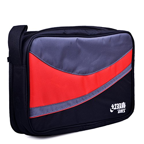 DHS Ping Pong Paddle Bag Table Tennis Racket Double Side Oxford Bag (Red)