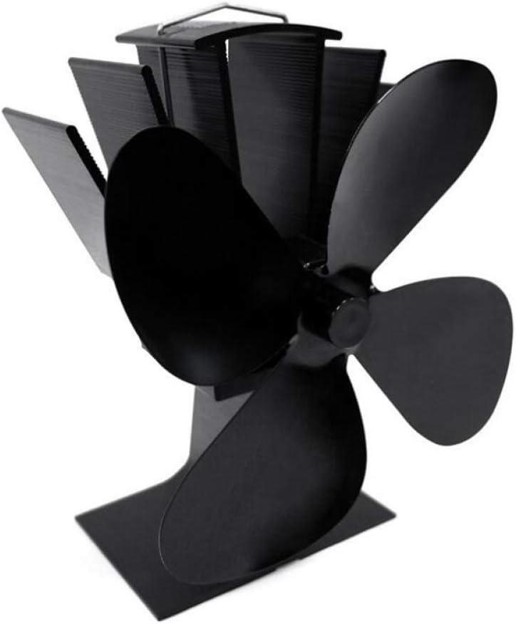 AOHMG Madera de 3 Cuchillas, calentada por Calor Ventilador Estufa, leña/Ventilador de Gas para Chimenea, Ultra silencioso Estufa Chimenea Ventilador,Black …