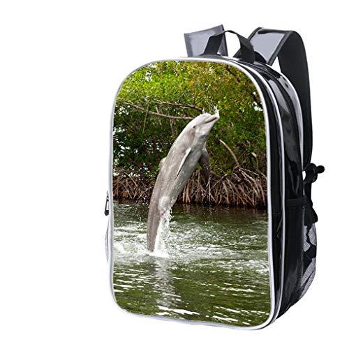 - High-end Custom Laptop Backpack-Leisure Travel Backpack Atlantic Bottlenose Dolphin (Tursiops truncatus) Water Resistant-Anti Theft - Durable -Ultralight- Classic-School-Black