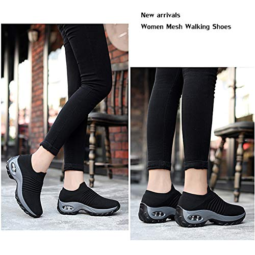 EXEBLUE Women Mesh Walking Shoes Slip on Breathable Fashion Sneakers Comfort Wedge Platform Loafers Black