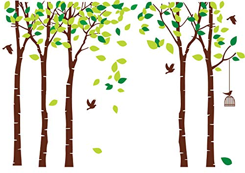 LUCKKYY Large Five Family Trees with Birds and Birdcage Tree Wall Decal Tree Wall Sticker Kids Room Nursery Bedroom Living Room Decoration (103.9x70.9)(Brown)]()