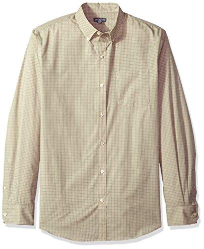 Van Heusen Men's Wrinkle Free Poplin Long Sleeve Button Down Shirt, Aluminum, (Wrinkle Free Mens Shorts)
