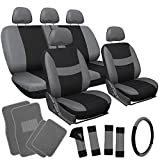 OxGord 21pc Flat Cloth Seat Cover and Carpet Floor Mat Set - Car, Truck, SUV, Van - Airbag Compatible, Split Bench, Steering Wheel Cover Included - Gray/ Black
