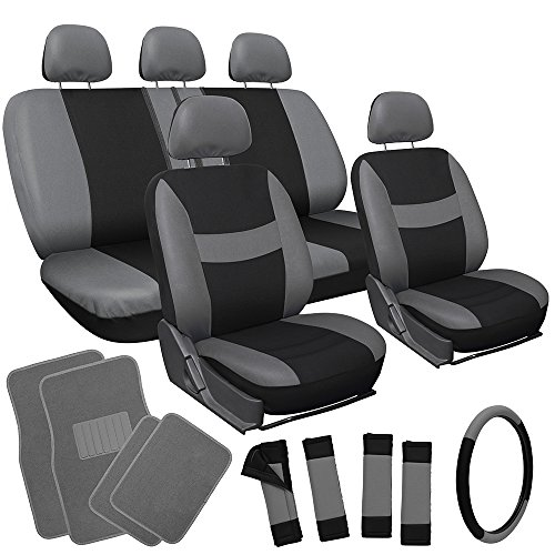OxGord 21pc Black & Gray Flat Cloth Seat Cover and Carpet Floor Mat Set for the Honda Accord Coupe, Airbag Compatible, Split Bench, Steering Wheel Cover Included (Honda Accord Coupe 2008 compare prices)