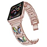 PUGO TOP Replacement for Apple Watch Band 44mm Series 4 Stainless Steel iPhone Watch Band with Bling Rhinestones for Women(42mm/44mm, Series 4 Gold)