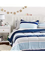 AmazonBasics Easy-Wash Microfiber Kid's Bed-in-a-Bag Bedding Set - Full / Queen, Navy Stripes