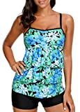 Urban Virgin Women's Printed Two Piece Tummy Control Tankini Swimsuits for Women Bathing Suit with Boyshort