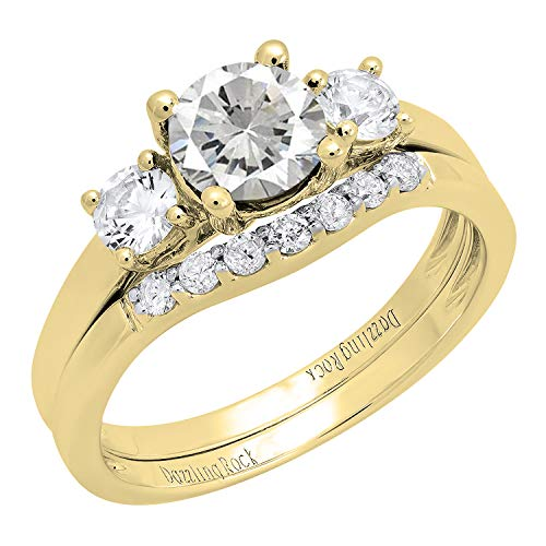 Dazzlingrock Collection 10K 6 MM Lab Created White Sapphire & Diamond Ladies Ring Set, Yellow Gold, Size 8.5