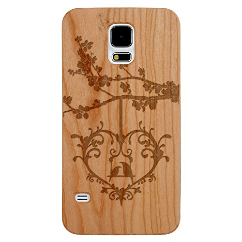 JewelryVolt Wooden Phone Case for Galaxy S5 Cherry Wood Laser Engraved Animal Love Summer Birds in a Heart Tree Swing
