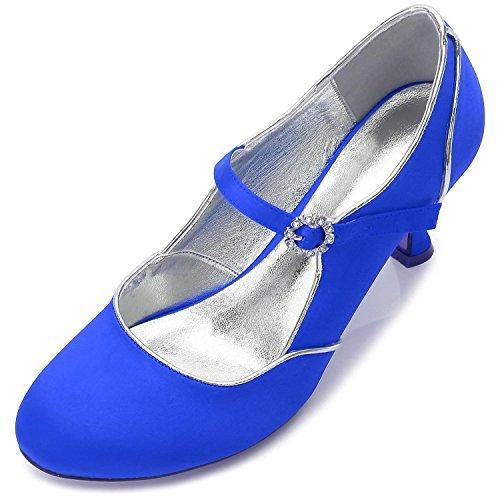 L@YC Zapatos De Boda De Las Mujeres E17061-55 Primavera Verano OtoñO Invierno Oficina al aire Libre Y Brillos De Gran TamañO Blue