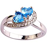 Fashion Women Double Heart Blue White Crystal Silver Ring Wedding Party Jewelry (9)