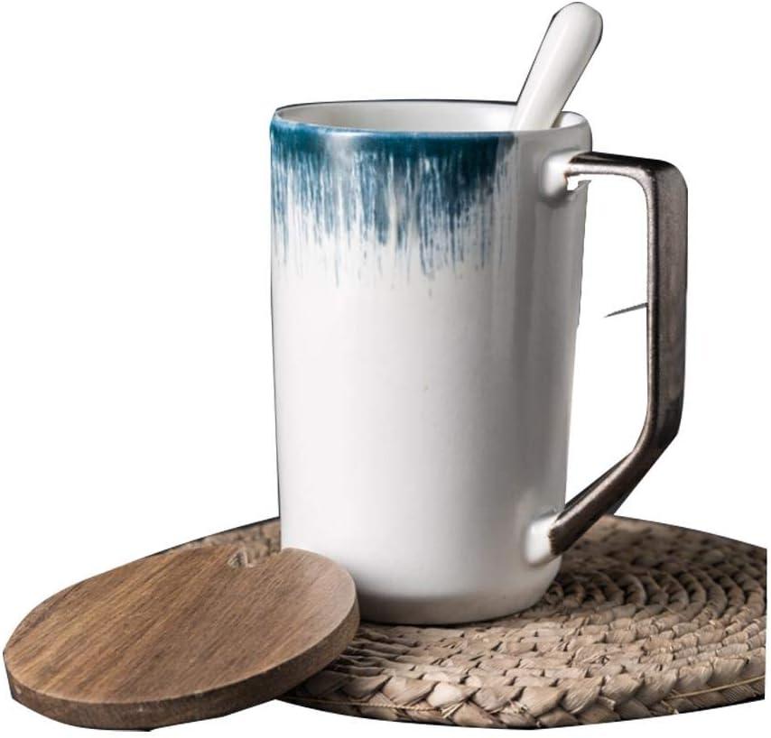 ふたとスプーンが付いている陶磁器のマグミルクコーヒーティーカップ人格朝食オートミールカップ大容量、500 mLを作るグラデーションブルーオフィス男性と女性