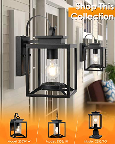 Osimir Outdoor Wall Light, 2 Pack Modern Farmhouse Outdoor Wall Sconce Lighting in Black Finish with Cylinder Glass…