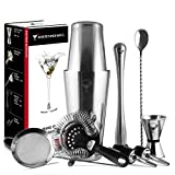 Full Professional Boston Cocktail Set - 18 & 28oz 0.8mm Double Flair Weighted Bar Shaker, 2 Densities Strainers, Jigger, Muddler, Spoon and Pourers - All 18/8 Quality Steel Heavy Duty Reliable Tools
