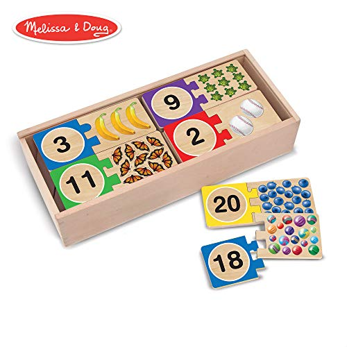 Melissa & Doug Self-Correcting Number Puzzles, Developmental Toys, Wooden Storage Box, Matching & Counting Skill Development, 40 Pieces, 12.75