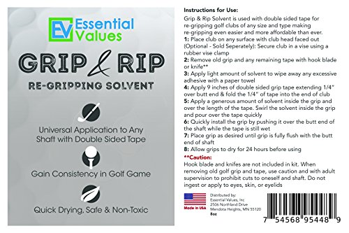 Essential Values Golf Regripping Kit, Best Value - Reusable 8oz Solvent & 28 Tape Strips To Regrip Your Entire Golf Grip Set (8 OZ Solvent & 28 Strips) by Essential Values (Image #6)